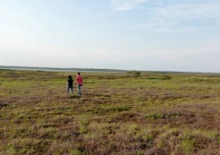 Walking across the tundra in Naknek Alaska, taking a break from working at a salmon cannery there.
