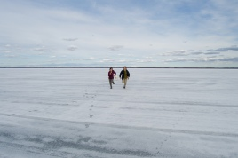 Running across a frozen lake in Canada