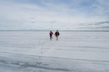 Running across a frozen lake in Canada